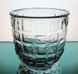 Heavy Glass Vase / Candle Holder Pressed Blocks Clear
