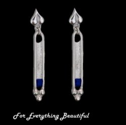 Art Deco Design Iolite Sterling Silver Drop Earrings