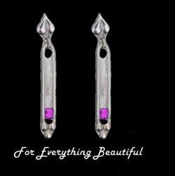 Art Deco Pink Tourmaline Sterling Silver Drop Earrings