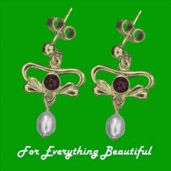 Art Nouveau Amethyst Pearl 9K Yellow Gold Drop Earrings