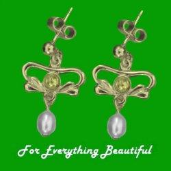 Art Nouveau Citrine Pearl 9K Yellow Gold Drop Earrings