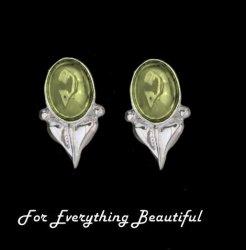 Art Nouveau Leaf Citrine Sterling Silver Stud Earrings