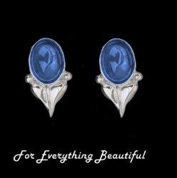 Art Nouveau Leaf Labradorite Sterling Silver Stud Earrings