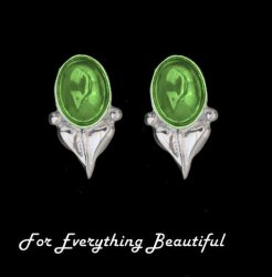 Art Nouveau Leaf Green Peridot Silver Stud Earrings
