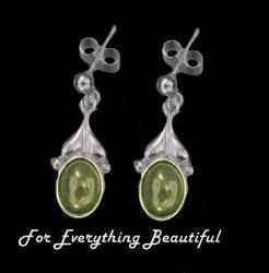 Art Nouveau Leaf Citrine Sterling Silver Drop Earrings