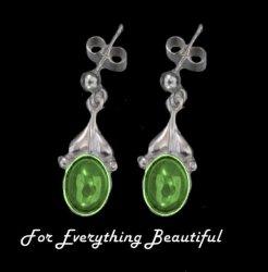 Art Nouveau Leaf Green Peridot Sterling Silver Drop Earrings