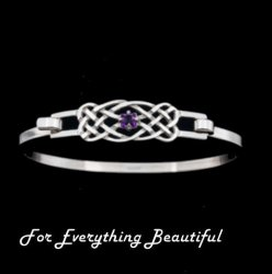 Celtic Knotwork Interlace Purple Amethyst Design Sterling Silver Bangle