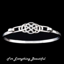 Celtic Knot Interlace Design Sterling Silver Bangle