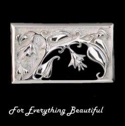 Art Nouveau Rectangular Design Sterling Silver Brooch