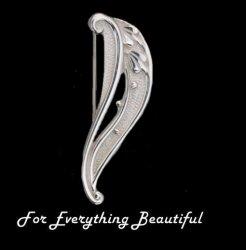 Art Nouveau Wave Design Sterling Silver Brooch