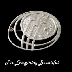 Art Nouveau Planets Design Sterling Silver Brooch