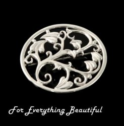Art Nouveau Nature Design Sterling Silver Brooch