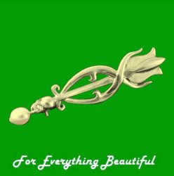 Art Nouveau Tulip with Pearl Design 9K Yellow Gold Brooch