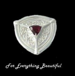 St Ninians Treasure Isle Red Garnet Sterling Silver Brooch