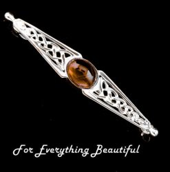Celtic Knot Amber Bar Design Sterling Silver Brooch