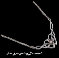 Celtic Floral Knotwork Pearl Sterling Silver Necklet
