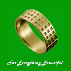 Art Deco Mackintosh 18K Yellow Gold Ring Wedding Band Sizes R-Z
