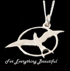 Arctic Tern Bird Round Medium Sterling Silver Pendant