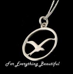 Arctic Tern Bird Circular Design Sterling Silver Pendant