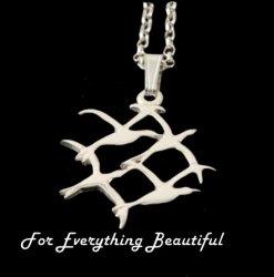 Arctic Tern Bird Quartet Design Sterling Silver Pendant