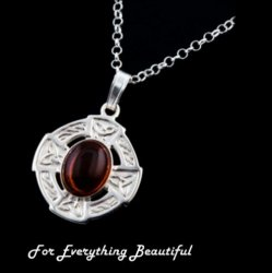 Celtic Cross Amber Oval Design Sterling Silver Pendant