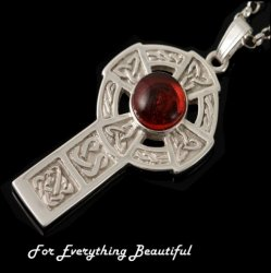 Celtic Cross Amber Drop Design Sterling Silver Pendant