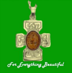 Celtic Cross Amber Square Design Medium 9K Yellow Gold Pendant