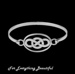 Celtic Oval Knotwork Open Sterling Silver Bangle