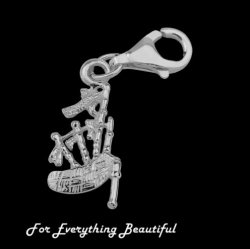 Bagpipes Scotland Musical Instrument Sterling Silver Charm