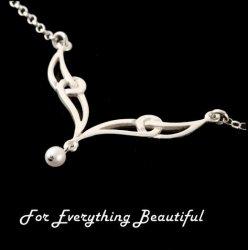 Celtic Elongated Knotwork Freshwater Pearl Sterling Silver Necklet