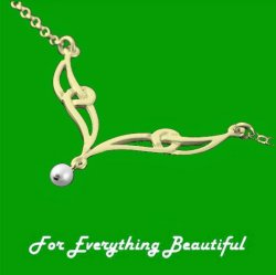 Celtic Elongated Knotwork Freshwater Pearl 9K Yellow Gold Necklet