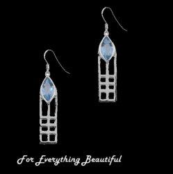 Mackintosh Aquamarine Art Nouveau Drop Hook Sterling Silver Earrings