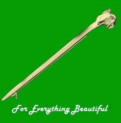 Rams Horn Head Design Long 9K Yellow Gold Kilt Pin