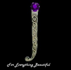 Celtic Knotwork Curled Tail Purple Amethyst Sterling Silver Kilt Pin