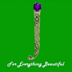 Celtic Knotwork Curled Tail Purple Amethyst 9K Yellow Gold Kilt Pin