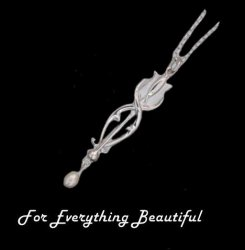 Art Nouveau Tulip with Pearl Design Sterling Silver Pendant