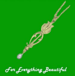 Art Nouveau Tulip with Pearl Design 9K Yellow Gold Pendant