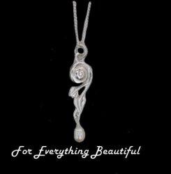 Art Nouveau Leaf Swirl Pearl Sterling Silver Pendant