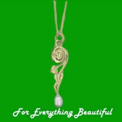 Art Nouveau Leaf Swirl Pearl 9K Yellow Gold Pendant