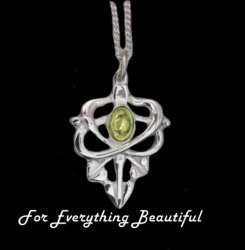 Art Nouveau Leaf Citrine Design Sterling Silver Pendant