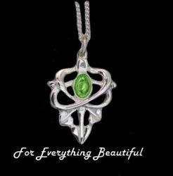 Art Nouveau Leaf Green Peridot Design Sterling Silver Pendant