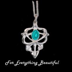 Art Nouveau Leaf Turquoise Design Sterling Silver Pendant