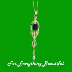 Art Nouveau Amethyst Pearl Drop 9K Yellow Gold Pendant