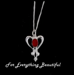 Art Nouveau Garnet Heart Sterling Silver Pendant
