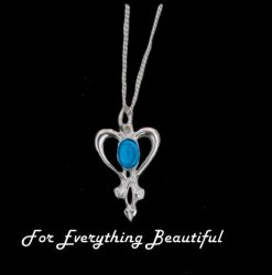 Art Nouveau Labradorite Heart Sterling Silver Pendant