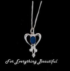 Art Nouveau Lapis Lazuli Heart Sterling Silver Pendant