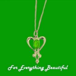 Art Nouveau Green Peridot Heart 9K Yellow Gold Pendant