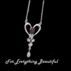 Art Nouveau Amethyst Heart Pearl Sterling Silver Pendant