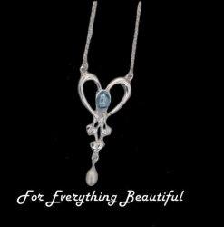 Art Nouveau Blue Moonstone Heart Pearl Sterling Silver Pendant