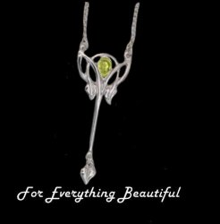 Art Nouveau Citrine Long Leaf Sterling Silver Pendant